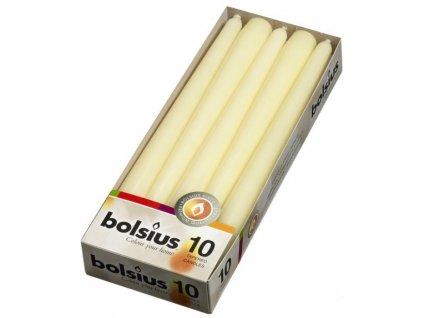 Svíčky Bolsius kuželové / 24,5 cm / bílé / 10 / 25229