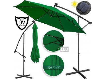 Kesser deštník s LED osvětlením / zahradní deštník / slunečník / 300 cm / zelený /ROZBALENO