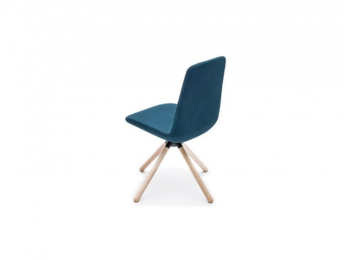 Ultra KW Chair with Blue Finish and Wooden Legs for Canteen