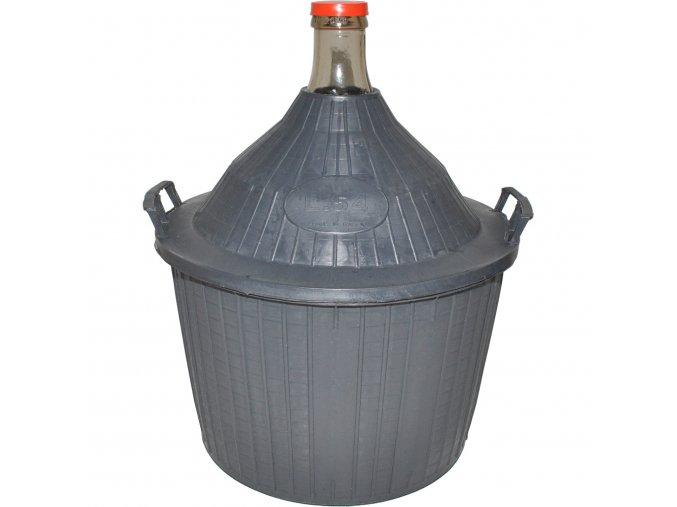 Skleněný demižon v plastovém koši 54 l
