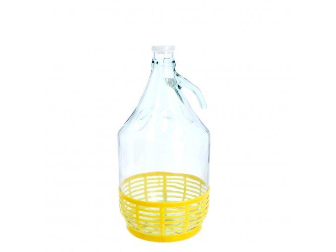 Skleněný demižon s úchytem 5 l +plastové dno+plast