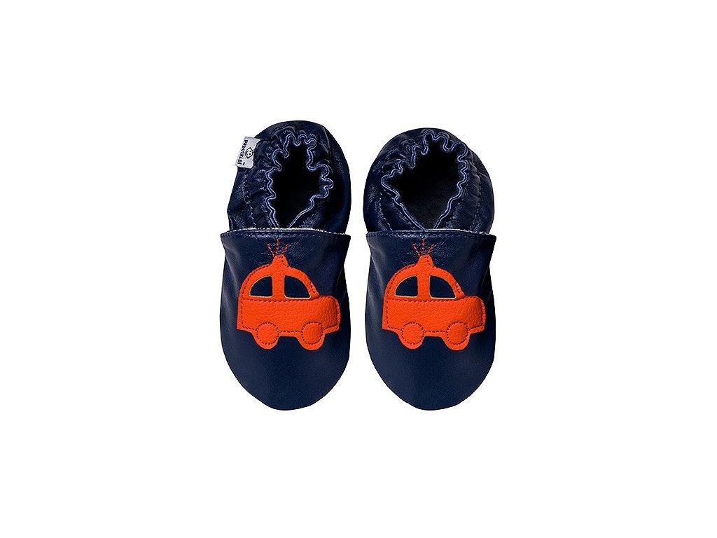 Kožené capáčky Navy s oranžovým autíčkem