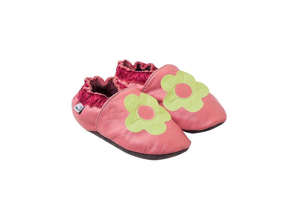 Kožené capáčky Růžové se zelenou kytičkou