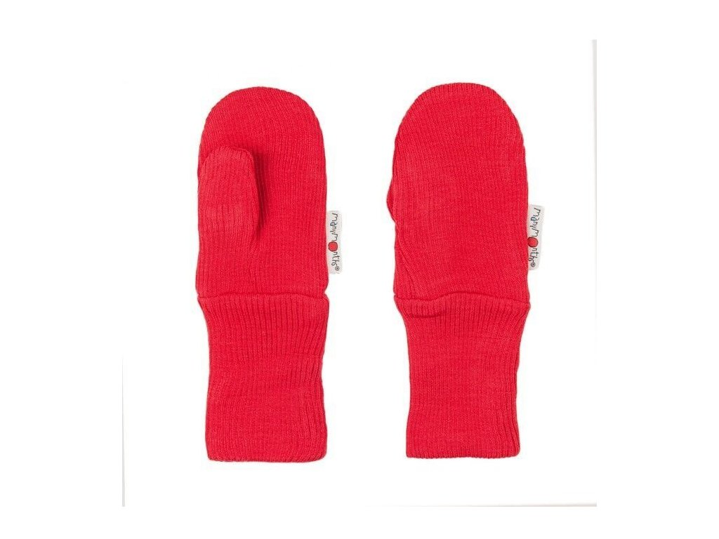 Manymonths rukavičky s palcem merinovlna Poppy Red