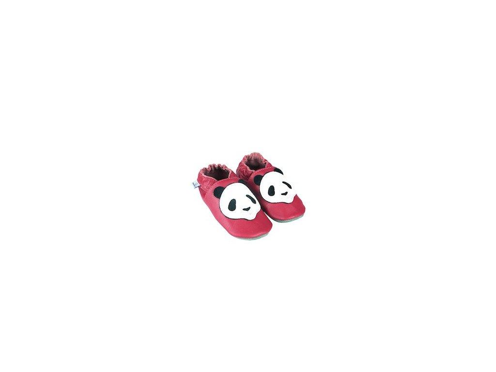 Kožené capáčky Fuchsie s pandou