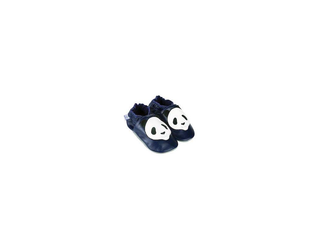 Kožené capáčky Navy s pandou