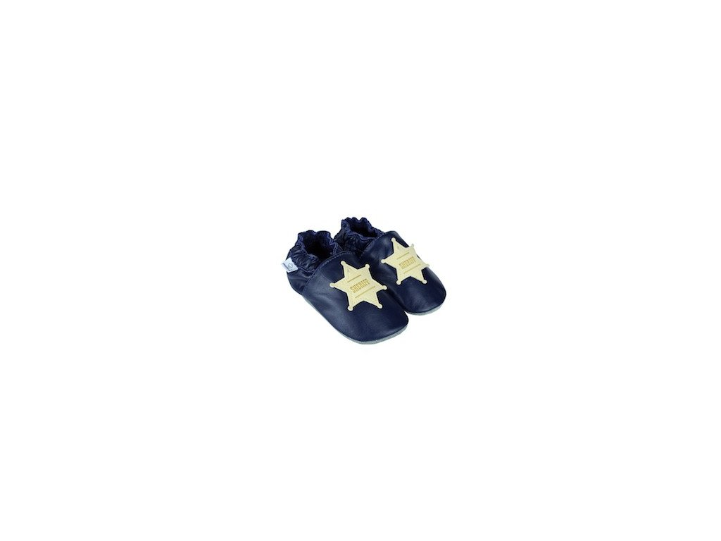 Kožené capáčky Navy s šerifskou hvězdou