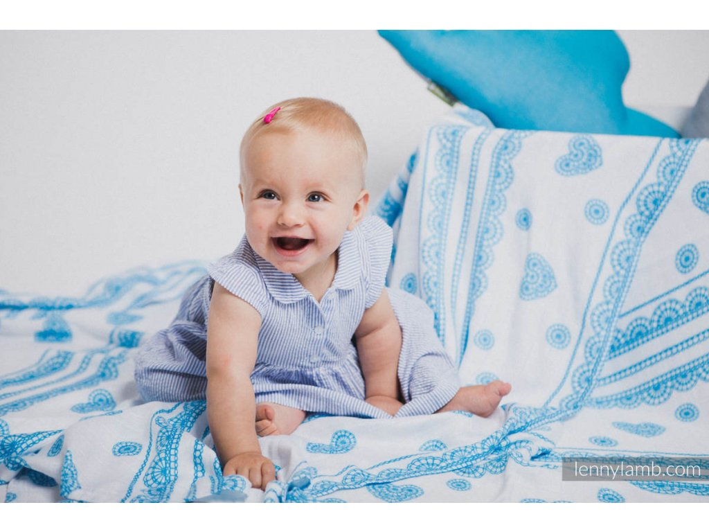 LennyLamb Zavinovací šátek Iced Lace Turquoise & White