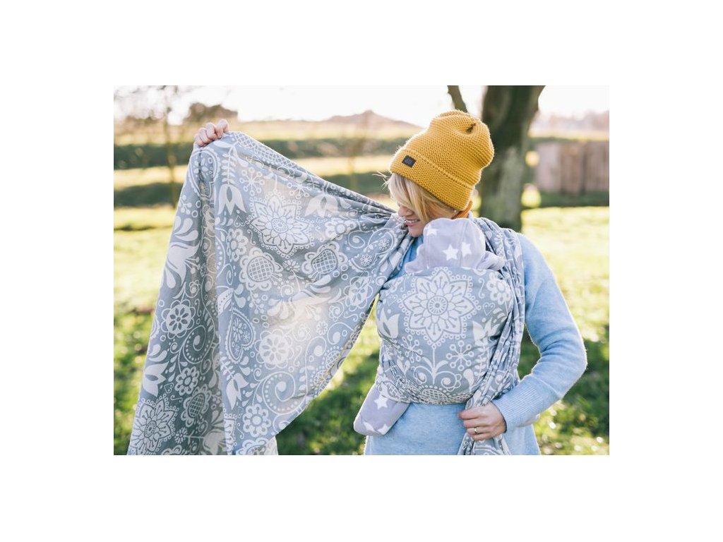 Lenka šátek Folk Šedý
