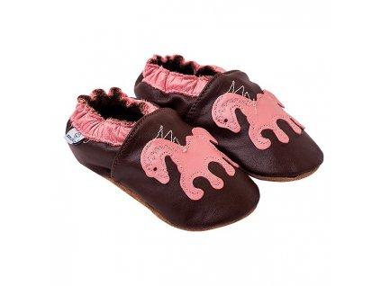 Kožené capáčky Čokoládové s poníkem