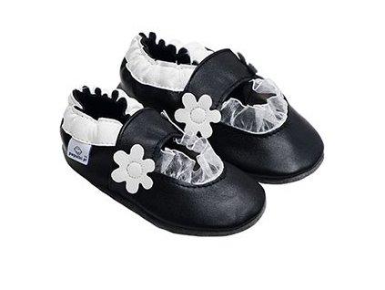 Kožené capáčky Černé balerínky s bílou kytičkou
