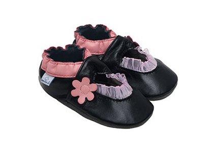 Kožené capáčky Černé balerínky s růžovou kytičkou