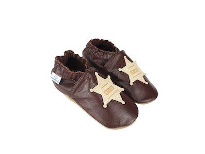 Kožené capáčky Hnědé s šerifskou hvězdou