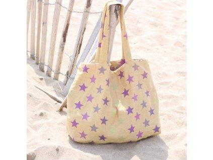 Yaro Shopper taška Stars Ultra Yellow Purple Confetti - 2 % hedvábí