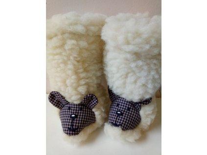 Saling vlněné boty vysoké světlé s ovečkou