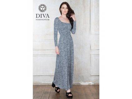Diva Milano kojící šaty zimní Stella Maxi Domino