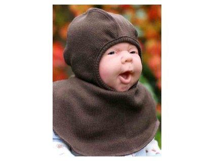 Manymonths sloní čepice merino Chocolate Brown