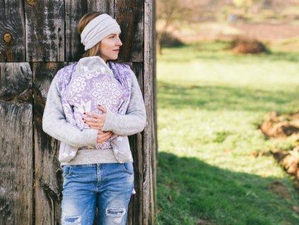 Lenka šátek Folk Fialový