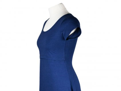 Angel Wings Kojicí šaty áčkový střih s krátkým rukávem Cobaltově modré
