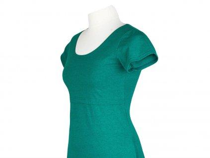 Angel Wings Kojicí šaty áčkový střih s krátkým rukávem Emeraldově zelené