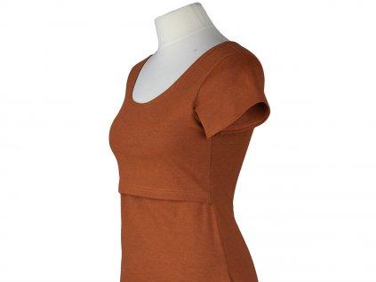 Angel Wings Kojicí šaty áčkový střih s krátkým rukávem Cihlově oranžové