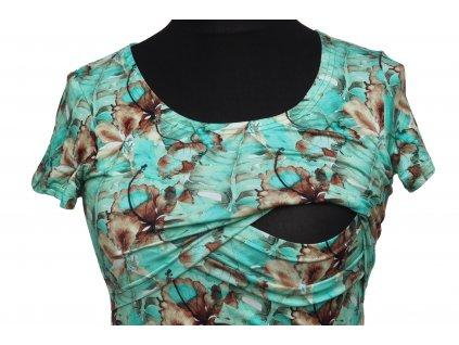 Angel Wings Kojicí šaty áčkový střih s krátkým rukávem Zelené listy