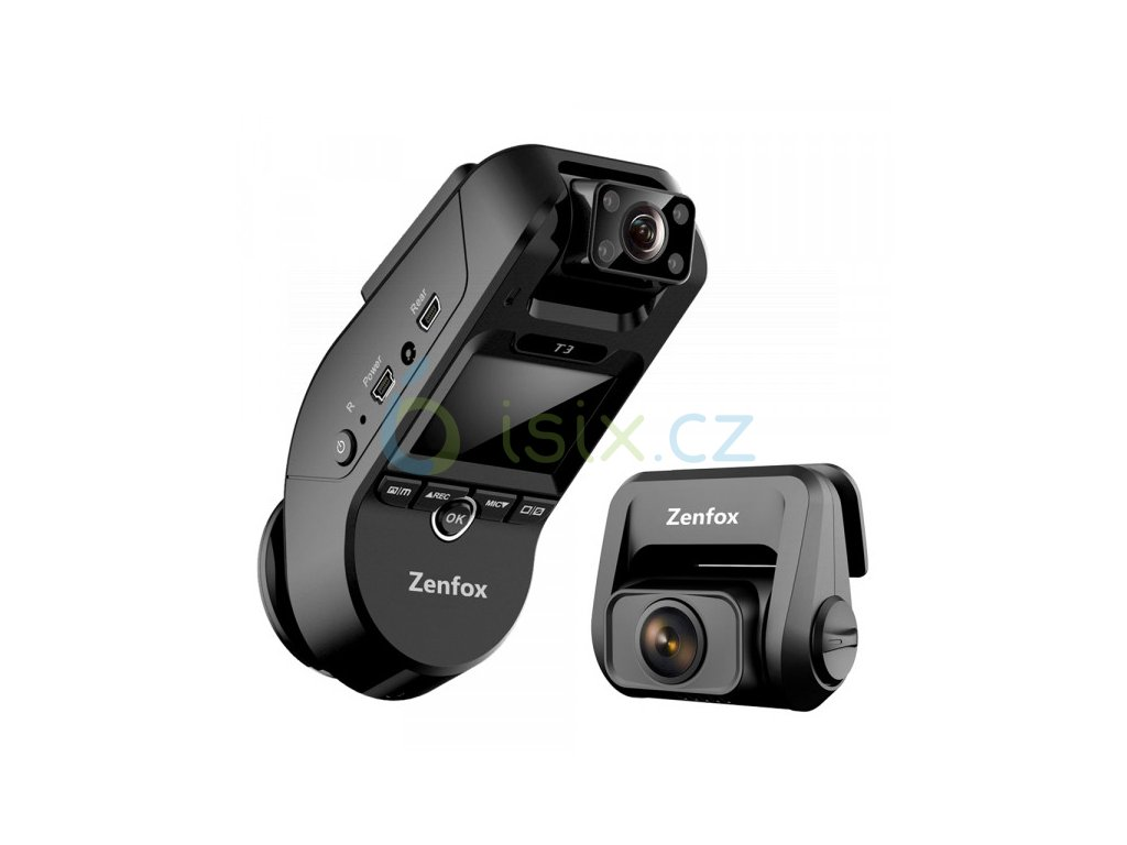 zenfox t3 3ch triple channel 2k front 1080p ir interior 1080p rear wi fi gps dash camera