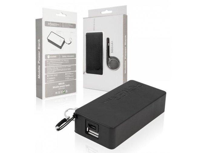 Záložní zdroj 6000 mAh - POWER Bank, 1x USB + 1x Micro USB, Black