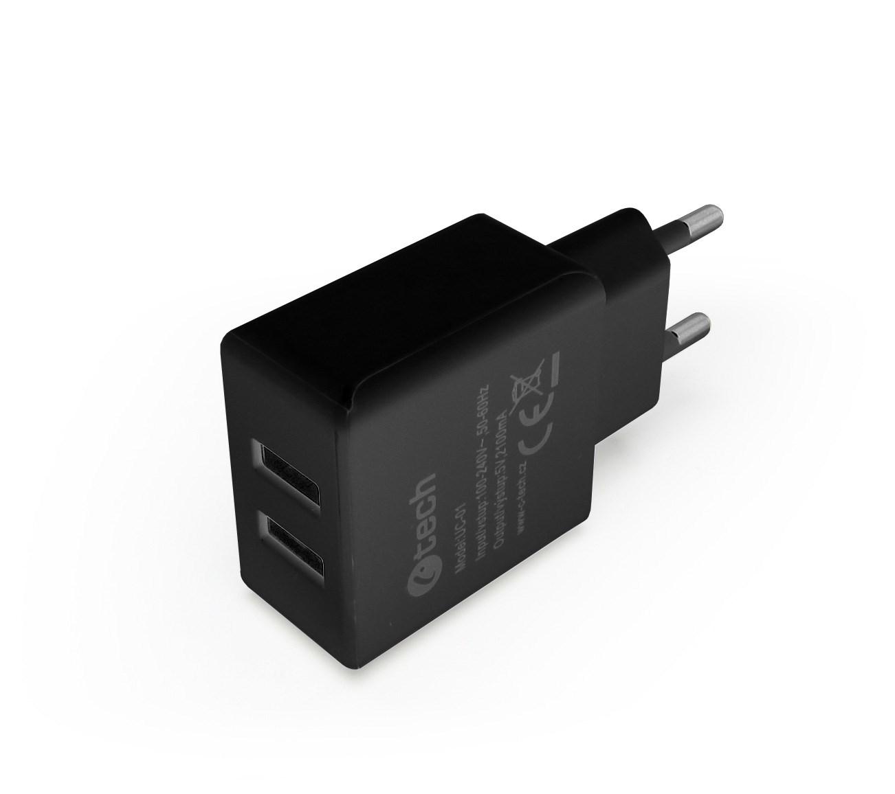 C-TECH USB Síťová NABÍJEČKA 1A + 2A konektor pro powerbanky a mobily