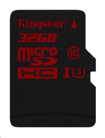 Kingston 32GB Micro SecureDigital (SDHC UHS-3) Card+ SD adaptér, doporučená karta pro 2k a 4k video