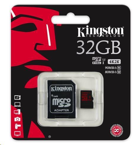 Rozbalený Kingston 32GB Micro SecureDigital (SDHC UHS-3) Card+ SD adaptér, doporučená karta pro 2k a 4k video