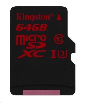 Kingston microSDXC 64GB UHS-I U3 SDCA3/64GB DOPORUČENÁ KARTA PRO 2K A 4K VIDEO