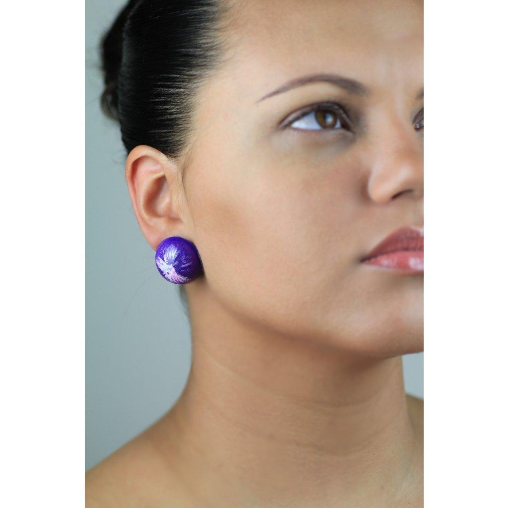 Náušnice Purple/White 120