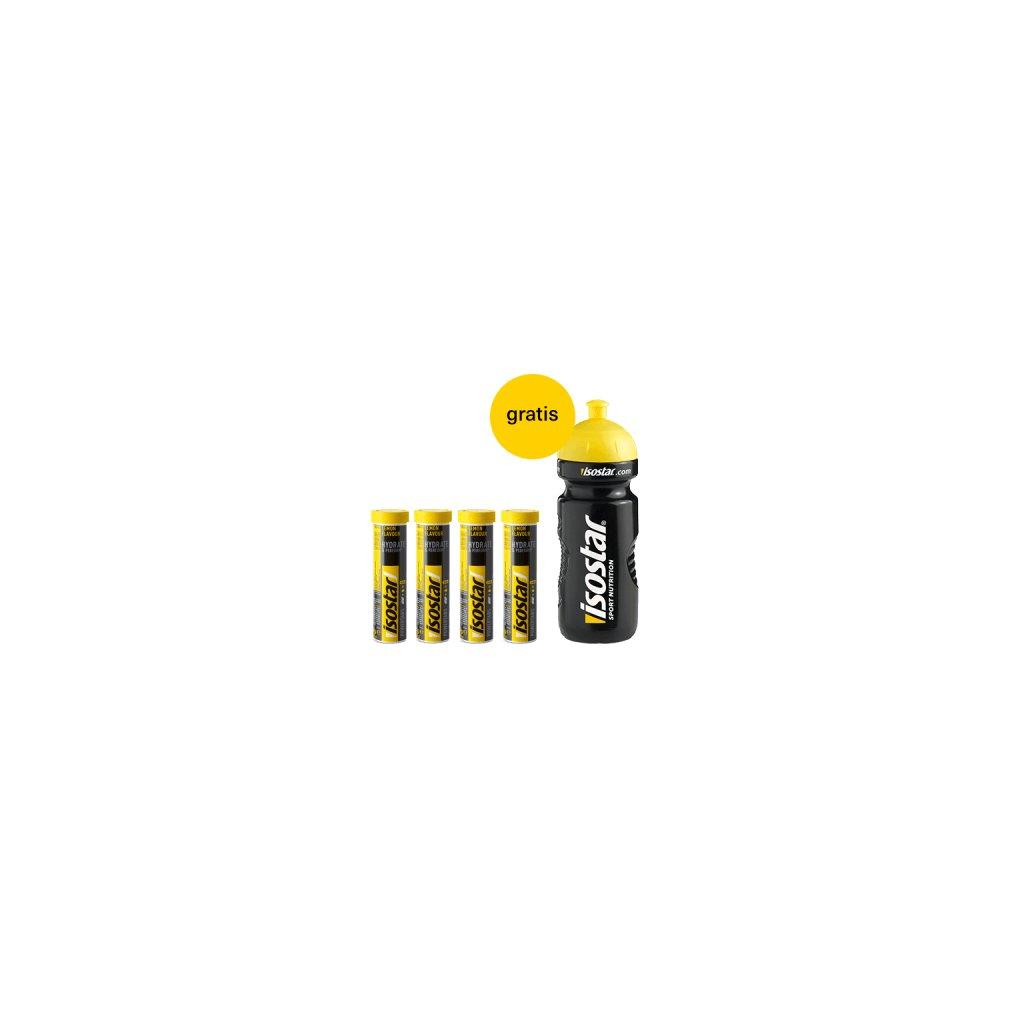 Packshot Isostar Powertabs 4x Lemon + bidon gratis