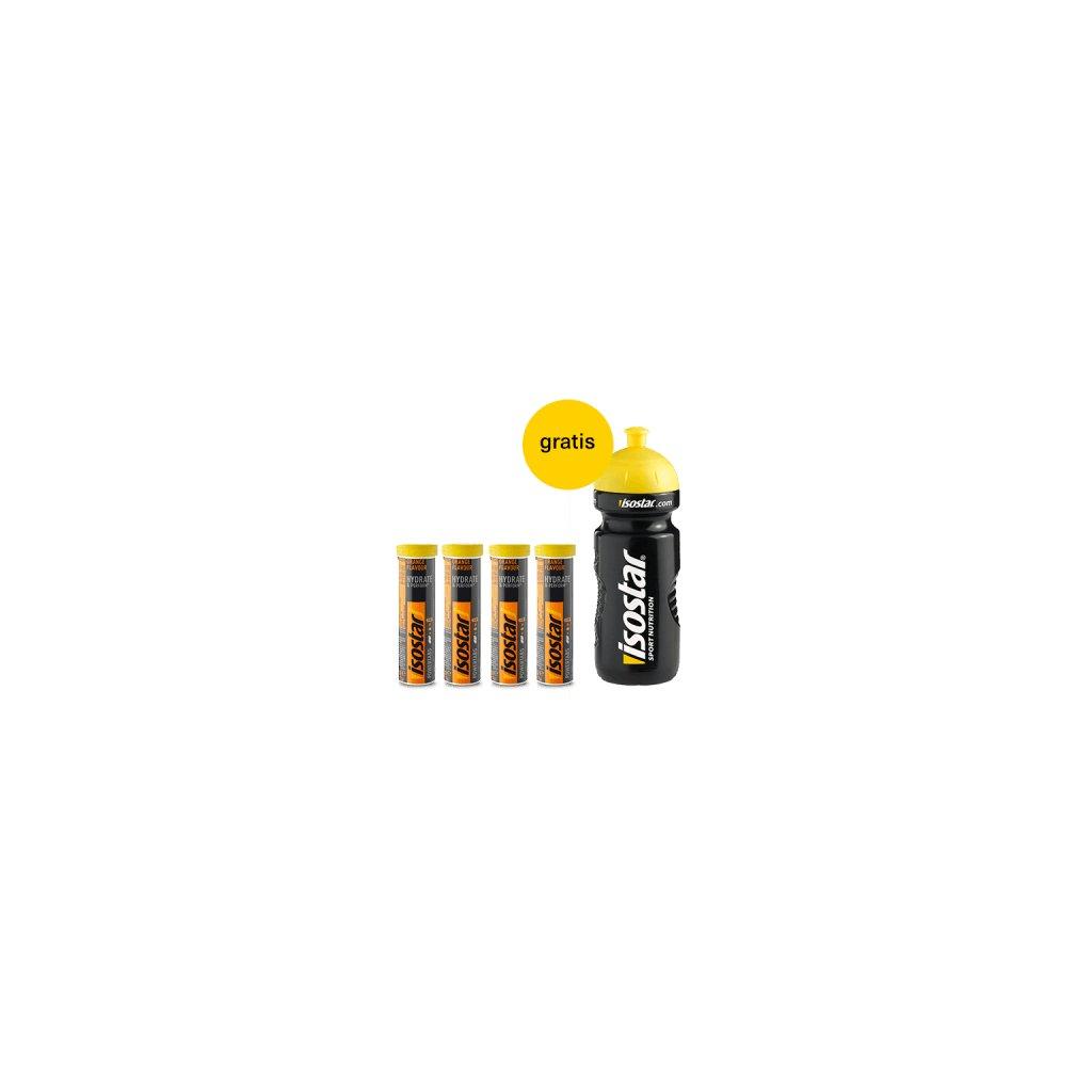 Packshot Isostar Powertabs 4x Orange + bidon gratis