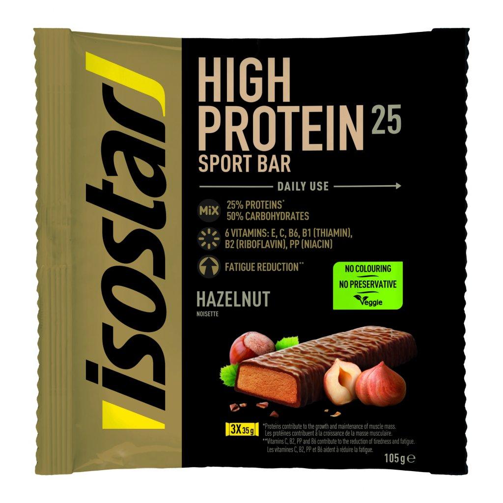 3D Isostar High protein 25 noisette Flowpack 3 x 35 g ENG FR DE ES NL IT 8 CMJN 300dpi