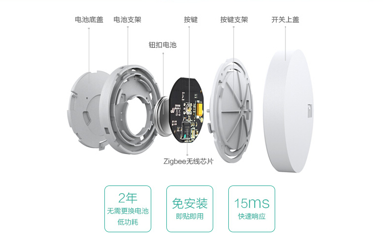 Xiaomi Wireless Switch Chytré dálkové tlačítko zvonek bluetooth bezdrátové čudlík istage xiaomimarket smart rozebrání
