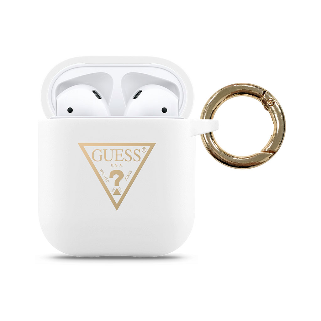 guess airpods silicone case triangle white