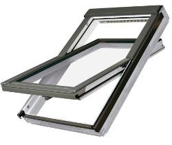 Dřevěné oplastované střešní okno FAKRO FTU-V U3 rozměr: 114x140 cm