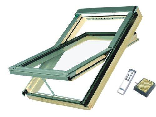 Dřevěné ELEKTRICKÉ okno FAKRO FTP-V U3 Z-Wave rozměr: 55x78 cm