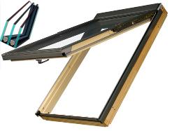 Výklopně - kyvné dřevěné střešní okno 3 skla FAKRO FPP-V U5 rozměr: 55x98 cm