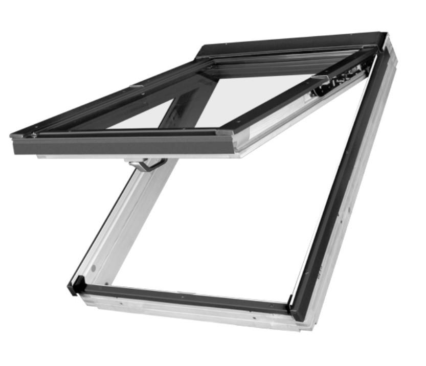 Výklopně - kyvné OPLASTOVANÉ dřevěné střešní okno FAKRO FPU-V U3 rozměr: 55x98 cm