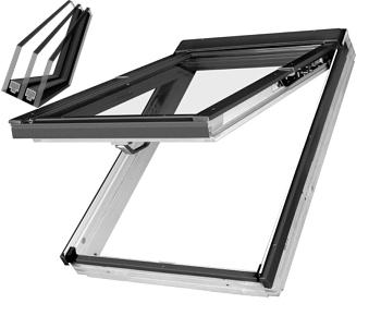 Výklopně - kyvné oplastované s trojkly dřevěné střešní okno FAKRO FPU-V U5 rozměr: 55x98 cm