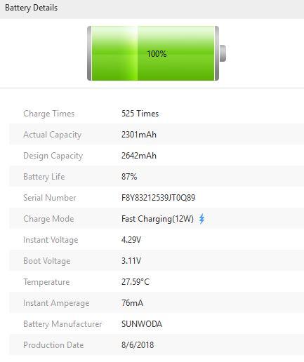 3uTools - informace o baterii