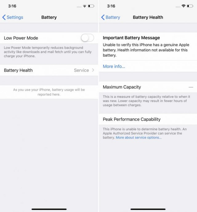 Varovná hláška po výměně baterie u iPhone Xs