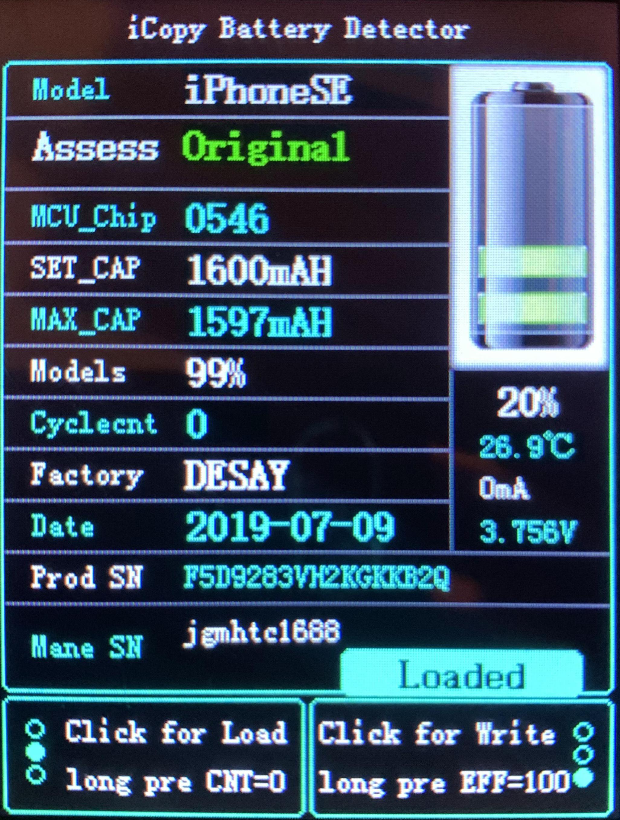 Výstup z programu Qianli pro originílní baterii iPhone SE