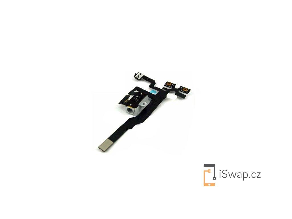 Flex kabel s tlačítky hlasitosti a jack konektorem pro Apple iPhone 4S White