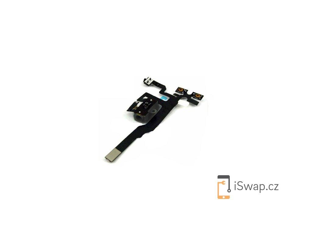 Flex kabel s tlačítky hlasitosti a jack konektorem pro Apple iPhone 4S Black