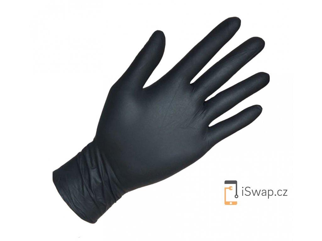 Latexové rukavice, černé nepudrované