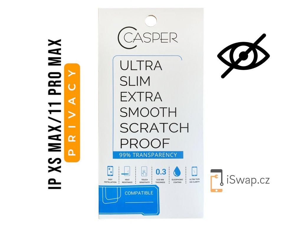 Privátní tvrzené sklo Casper Privacy pro Apple iPhone Xs Max a 11 Pro Max.